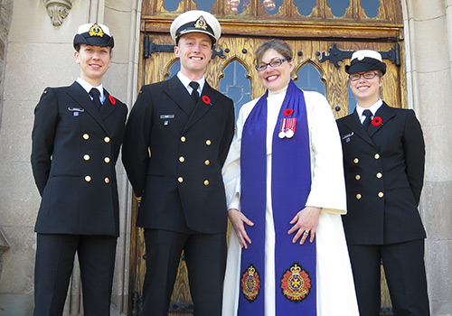 Catherinanne George with navy wearing a poppy