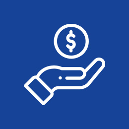 Hand holding money icon.