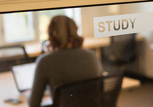 "Looking at student through glass door with a ""Study"" sign on door."