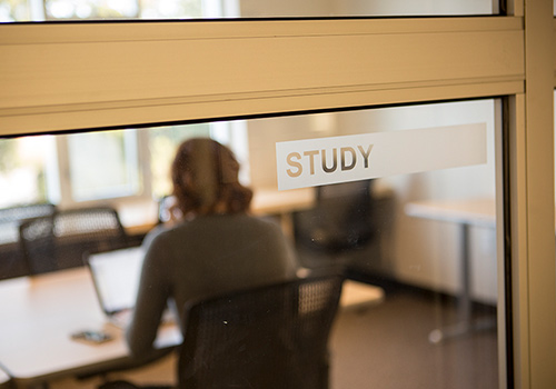 Students sitting in study room with back to door